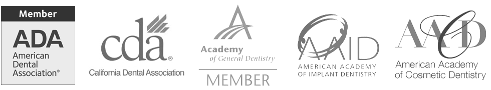 List of all institutions we are members of: ADA, CDA, AoGD, AAID, AACD Napa, CA