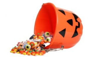 Halloween Bucket with Candy Spilling Out